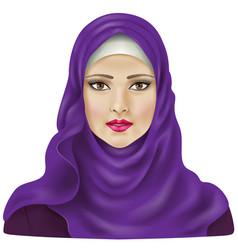 Girl in violet hijab vector image