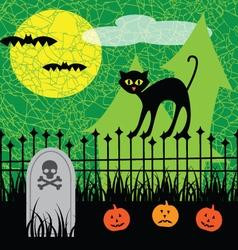 halloween black cat vector image