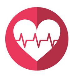 heart pulse rhythm cardio shadow vector image