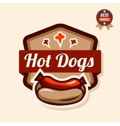hot dog emblem vector image vector image