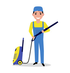 cartoon man holding a high pressure washer vector image vector image
