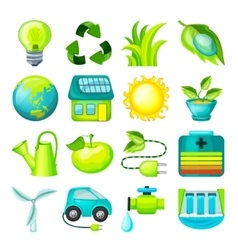 Ecological cartoon icons collection vector