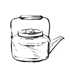 hand drawn graphic ink sketch of teapot vector image vector image