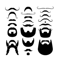 Moustaches and beards silhouettes icons vector image vector image