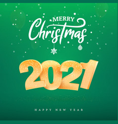 2021 golden number happy new year celebration on vector image