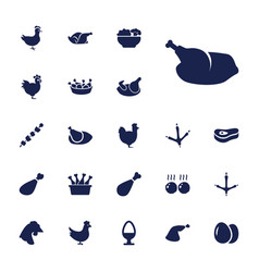 22 chicken icons vector
