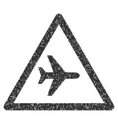 Airplane Warning Icon Rubber Stamp vector image