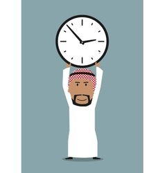 Arabian businessman with office clock above head vector