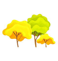 autumn tree different sizes and forms trees with vector image