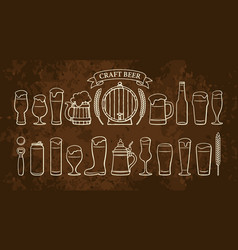 beer objects set isolated on rusty brown vector image