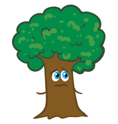 Big tree is looking unhappy on white background vector