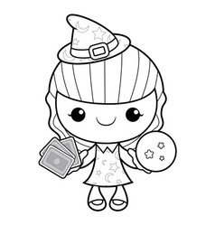 black and white witch mascot dire les cartes vector image