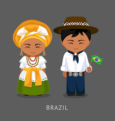 Brazilians in national dress with a flag vector