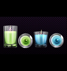 Burning candles in glass jars front and top view vector