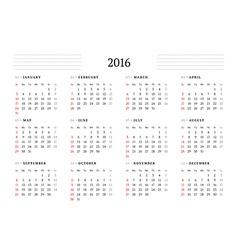 Calendar 2016 Print Template 12 Months Week Starts vector