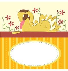 Cartoon animal card with funny dog vector