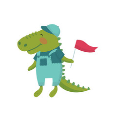 cartoon character of baby crocodile with red flag vector image