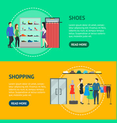 cartoon group characters people in clothing store vector image