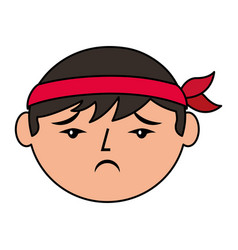 cartoon sad face chinese man vector image