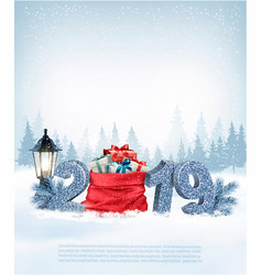Christmas holiday background with 2019 and red vector