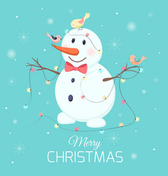 christmas snowman character birds lights garland vector image