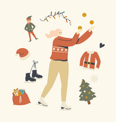 Christmas vacation spare time on ice rink happy vector