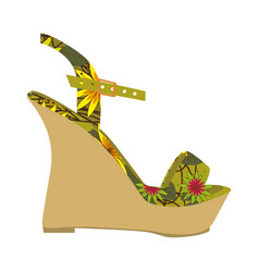 Colorful silhouette of sandal shoe with platform vector