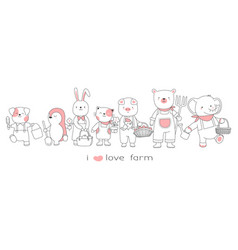 cute baanimals collection hand drawn style vector image