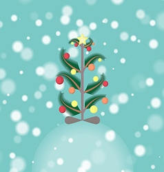 Decorated Christmas Tree in the Snowfall vector