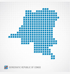 democratic republic of congo map and flag icon vector image
