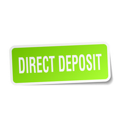 Direct deposit square sticker on white vector