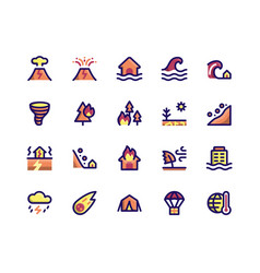 Disaster filled line icons vector