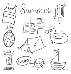 Doodle of summer various object vector
