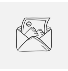 Envelope mail with photo sketch icon vector image