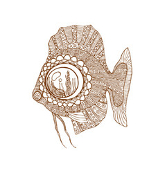 ethnic brown line fish in zentangle style vector image