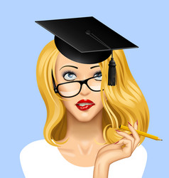Face of a pretty blonde girl in glasses looking vector