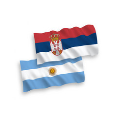 Flags argentina and serbia on a white vector