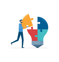 Flat business thinking and creativity conce vector