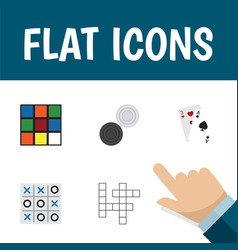 Flat icon games set of chequer ace xo and other vector