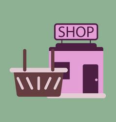 Flat icon shop basket vector