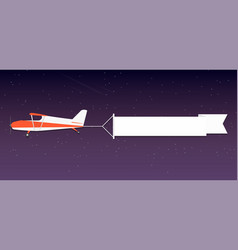 flying advertising banner plane with horizontal vector image