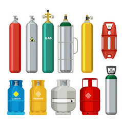 Gas cylinders icons petroleum safety fuel metal vector