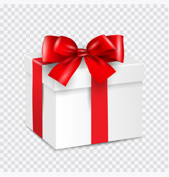 Gift white box with red ribbon isolated vector