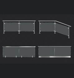 Glass balustrade with iron banister vector