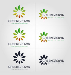 green grown - nature growth logo - flower logo vector image
