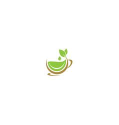 Green tea cup drink logo vector