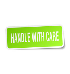 Handle with care square sticker on white vector