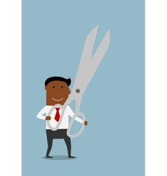 Happy businessman with huge scissors vector