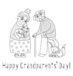 Happy grandparents day card darling granny and vector