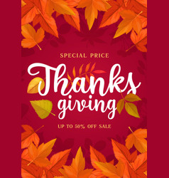 Happy thanks giving sale poster special price vector